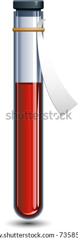 Vector Vial of blood over white - stock vector