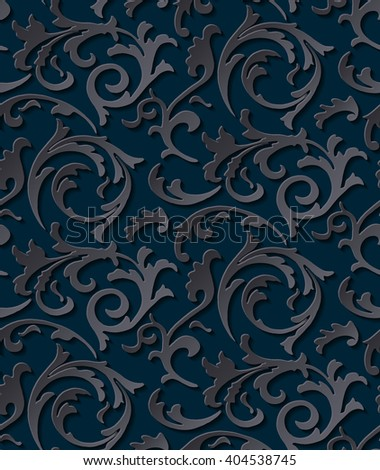Vector victorian seamless damask dark gothic texture. Luxury floral swirl  pattern element for wrapping paper