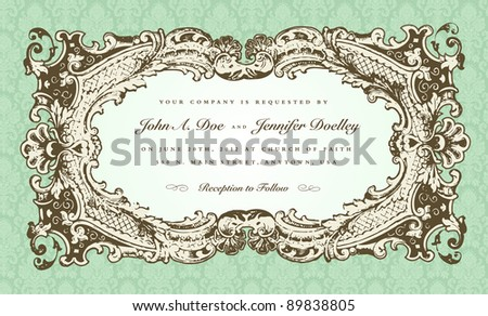 Vector Victorian Wedding Frame for Invitation. All pieces are separate, and easy to edit. - stock vector
