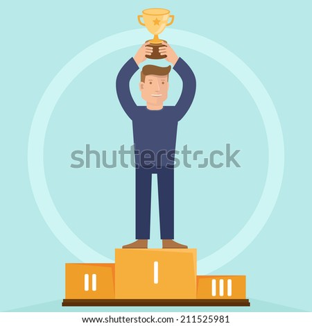 Vector victory concept - man holding golden bowl - illustration in flat retro style - stock vector