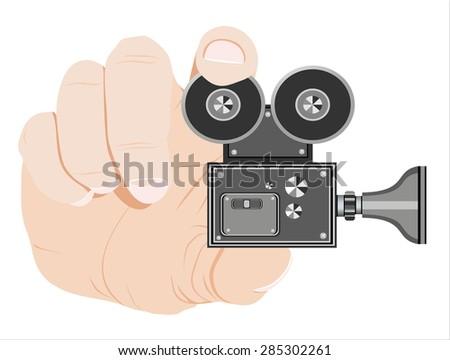 Vector video camera  icon illustration. - stock vector