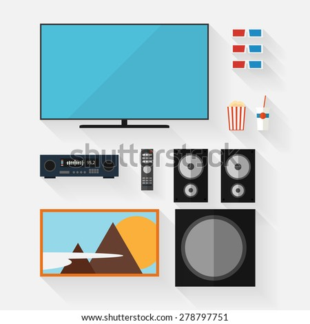 Vector video equipment icon set. Flat style with long shadow - stock vector