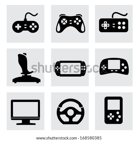 vector video game and joystick icons set - stock vector