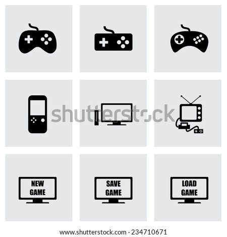 Vector video game icon set on grey background - stock vector