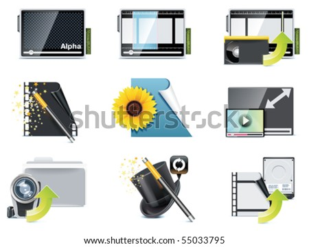 Vector video icons. Part 5 - stock vector