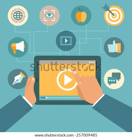 Vector video marketing concept in flat style - video player on the screen of tablet pc - infographics design element - stock vector