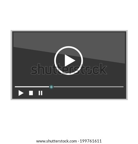 Vector video player for web - stock vector