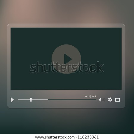 Vector video player on the dark background - stock vector