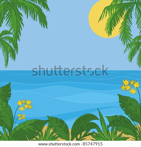 Vector, view of sea, sun and sky, frame of a tropical foliage and flowers - stock vector