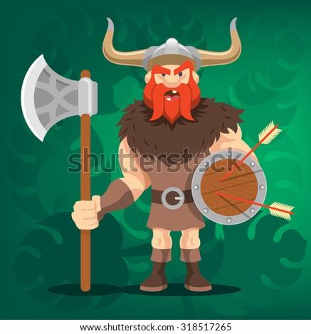 Vector viking funny cartoon illustration - stock vector
