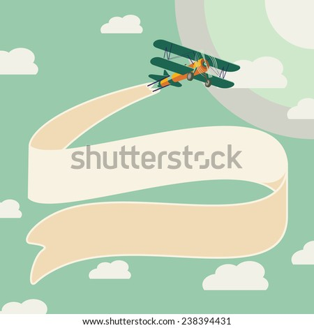 vector vintage airplane design - stock vector
