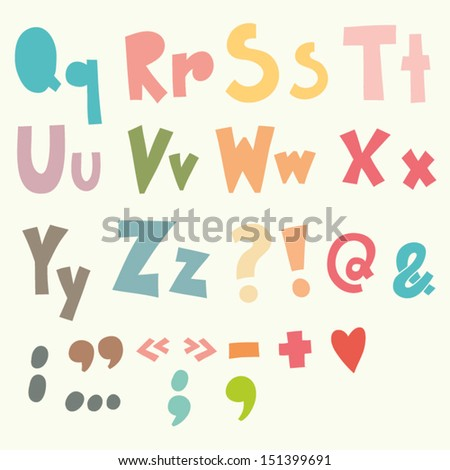 Vector Vintage Alphabet. Cute hand drawn letters./2 - stock vector