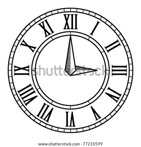 vector vintage antique clock face - stock vector