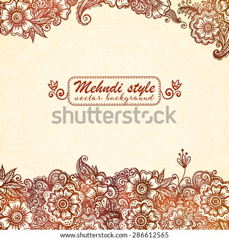Vector vintage background in Indian henna mehndi style - stock vector