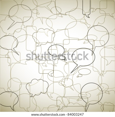 Vector vintage background made from speech bubbles - outlines and borders - stock vector