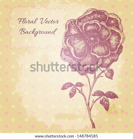 Vector vintage background with a beautiful hand drawn flower. - stock vector