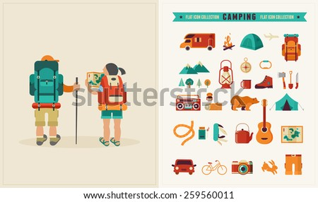 Vector vintage background with couple of backpackers, forest and hills. Set of vector icons