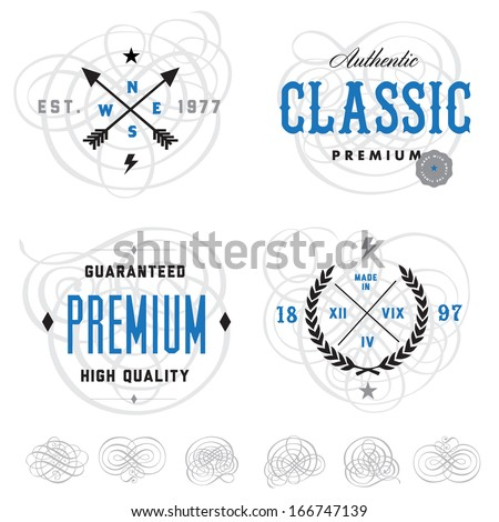 Vector vintage badge and label templates. Great for badges, packaging, and retro designs. Easy to edit!  - stock vector