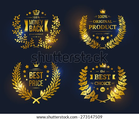 Vector vintage badges collection Best choice, Best price, Original Product, Money Back Guarantee. Shining glossy Premium Quality sign on black background - stock vector