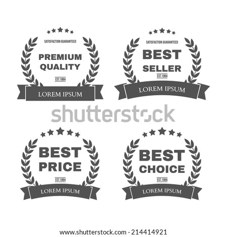 "Vector vintage badges collection ""Premium quality"", ""Best seller"", ""Best price"" and ""Best choice"" - stock vector"