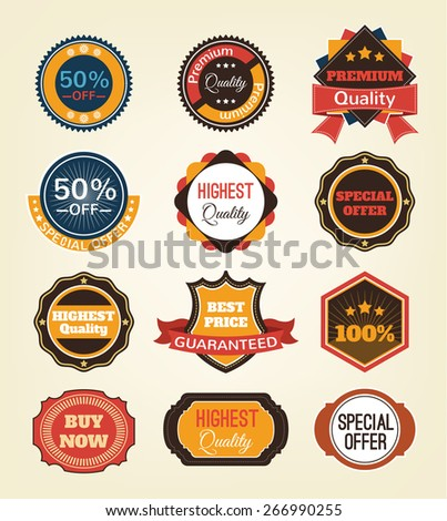 Vector vintage badges, stickers, ribbons, banners and labels. Creative graphic design illustrations