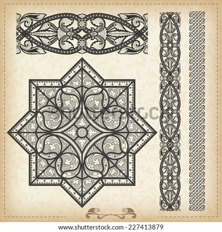 Vector vintage baroque border frame card cover  - stock vector