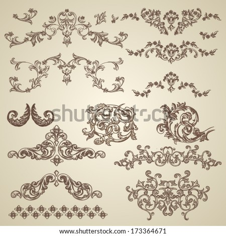 Vector vintage baroque engraving floral scroll filigree design - stock vector
