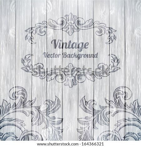 Vector vintage baroque engraving floral scroll filigree design on wood texture - stock vector