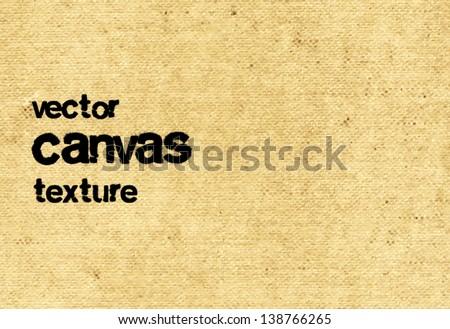 Vector vintage beige grungy canvas background - stock vector