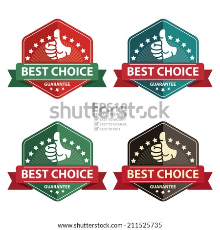Vector : Vintage Best Choice Guarantee Icon, Badge, Sticker or Label Isolated on White Background - stock vector