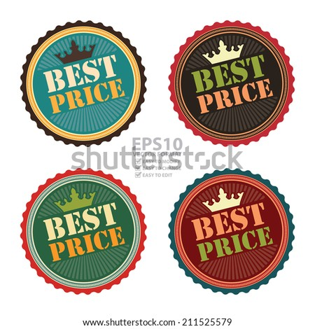 Vector : Vintage Best Price Icon, Badge, Sticker or Label Isolated on White Background - stock vector