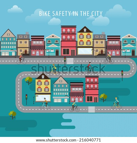 Vector Vintage Bike bicycle safety in the city concept  - stock vector