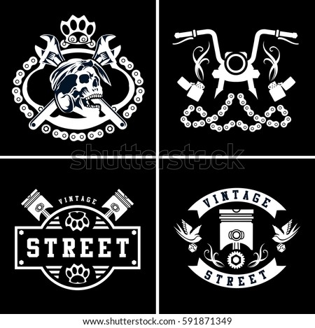 Motorcycle logo stock images royalty free images for Custom car club shirts