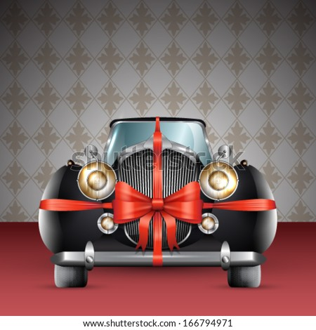 Vector vintage black car tied with red bow illustration - stock vector