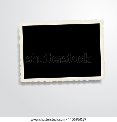 vector vintage blank photo frame with transparent shadow - stock vector