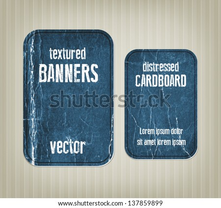 Vector vintage blue distressed crumpled cardboard banners