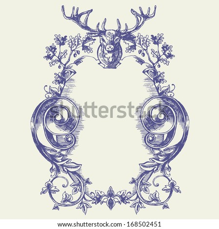 Vector vintage border frame engraving with retro ornament pattern in antique baroque style decorative design. Elegant baroque ornate with deer head and oak. Curves engraving frames. Coat of Arms - stock vector