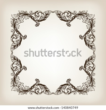 vector vintage border  frame filigree engraving  with retro ornament pattern in antique baroque style ornate decorative antique calligraphy design - stock vector