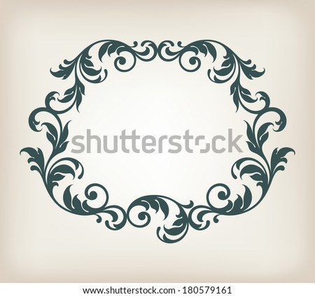 vector vintage border frame filigree with retro ornament pattern in antique baroque style ornate decorative background antique calligraphy design   - stock vector