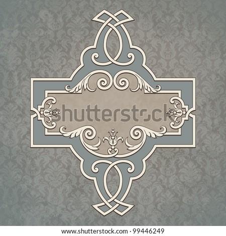 Vector vintage border frame grunge background retro ornament pattern baroque style decorative design - stock vector