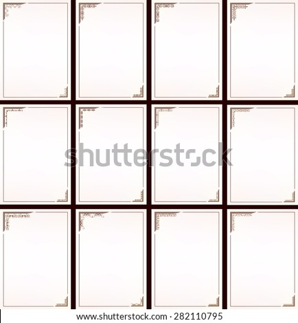 Vector vintage border frame set  - stock vector