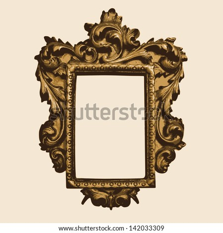 Vector vintage border frame with retro ornament pattern in antique rococo style. decorative design. vector illustration. - stock vector