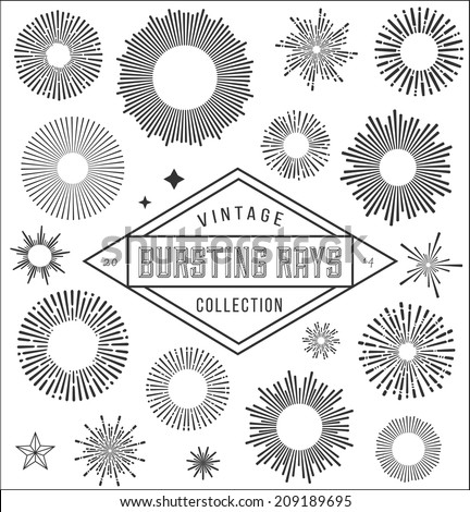 Vector vintage burstings rays set -  design elements for your design. Great for retro style projects.  - stock vector