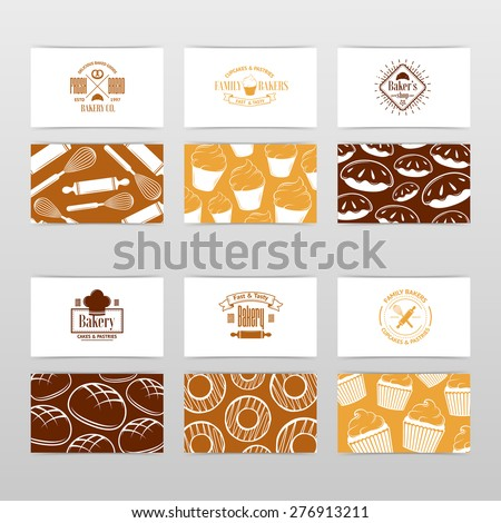 Vector vintage Business card Design Template with tasty cakes, pancakes, bread, pastry and etc. - stock vector