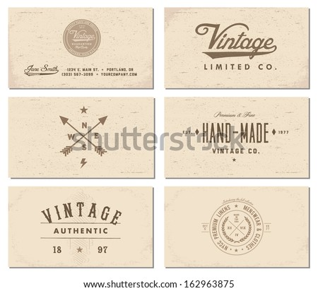 Vector vintage business card set. - stock vector