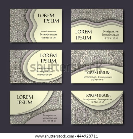 Vector vintage business cards set. Floral mandala pattern and ornaments. Oriental design Layout. Islam, Arabic, Indian, ottoman motifs. Front page and back page.