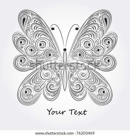 vector vintage butterfly with tracery - stock vector