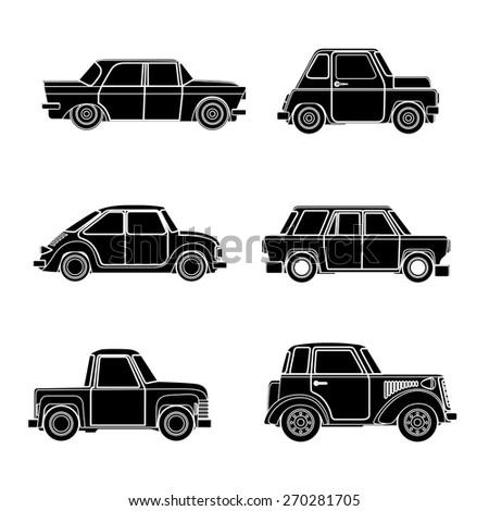 Vector vintage car silhouette. Vector Illustration - stock vector
