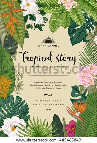Vector vintage card. Botanical illustration. Tropical flowers and leaves. Colorful - stock vector