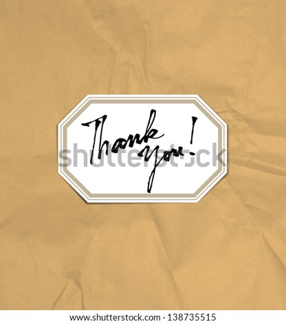 "Vector vintage card with handwritten text ""Thank You"" over crumpled craft paper background - stock vector"